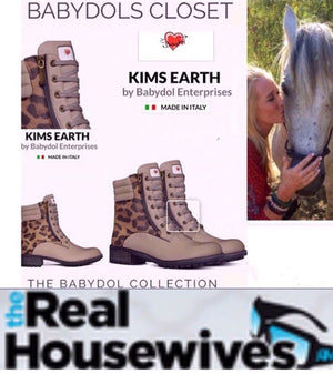 KIMS EARTH Khaki Leather Boot w Leopard Hair Accents for RHOBH Kim Richards