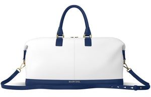 YACHTIE White Leather with Navy Blue Leather Trim Weekender Bag