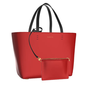 FIERCE Red Leather Shopper Tote with FREE Matching Leather Pouch