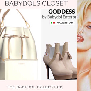GODDESS Leather Bucket Bag w Matching Leather Zip Mini Pouch