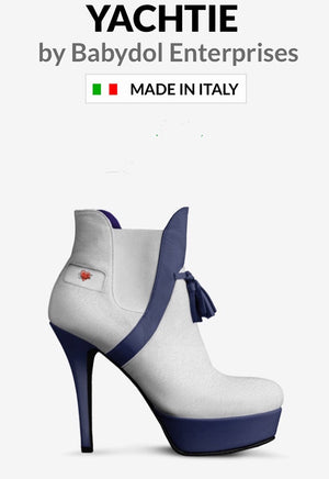 YACHTIE WHITE White Leather Ankle Boot w Navy Blue Leather Accents