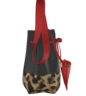CRUELLA Jet Black Leather with Leopard Base Bucket Bag w Mini Leather Pouch.