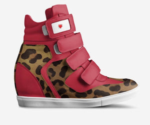 LOLAS REVENGE Scarlet Red Leather Leopard Hair Hi-Top Sports Sneaker