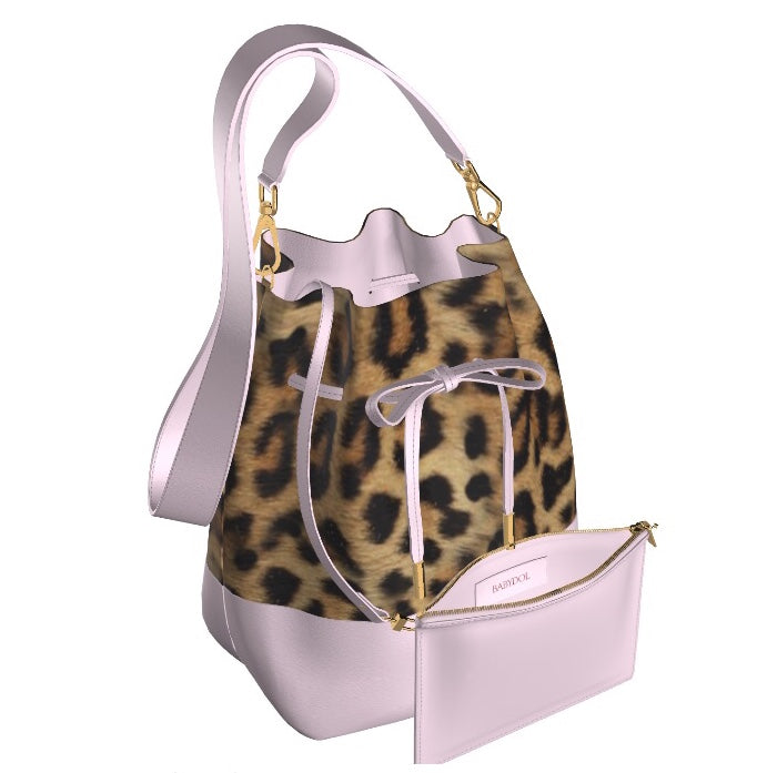 GLAMOUR GIRL Leopard Hair BucketBag w Petal Pink Leather & FREE Cosmetic Case