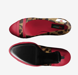 The PAOLA 90Day Fiance Paola Mayfield Fiery Red Leather w Leopard Pump inspired by 90Day Fiance Paola Mayfield.