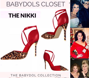 "The NIKKI Lipstick Red Leather w Leopard Hair 41/2"" Stiletto"