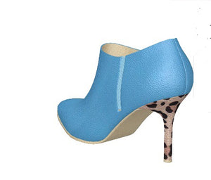 BLUE BERRY Leather Ankle Boots w Leopard Stiletto Heels