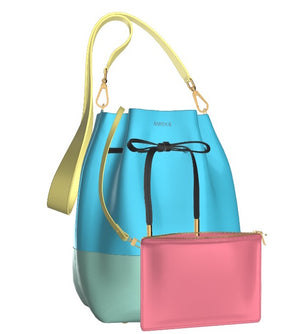 PRETTY MESS Multi Leather Bucket Bag with Matching Leather Mini Zip Pouch