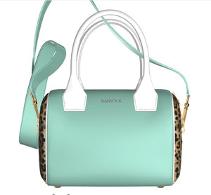 GLAMOUR GIRL Turquoise Leather Bowler Bag w Leopard