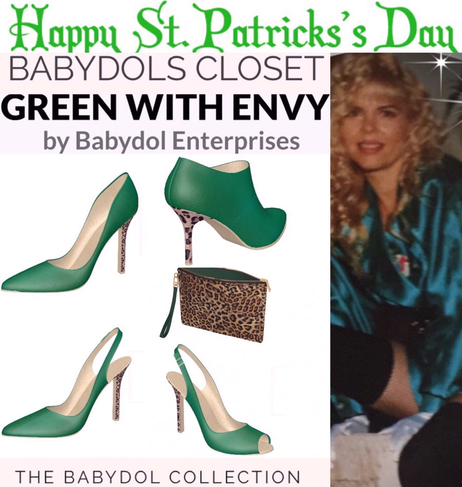 GREEN WITH ENVY Emerald Green Leather Open-Toed, Slingback Pumps w Leopard Hair Stiletto Heel