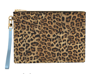 BLUE BERRY Leopard Gold Studded Clutch