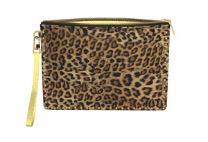 BUTTERCUP Leopard Gold Studded Clutch w Leather Wriststrap