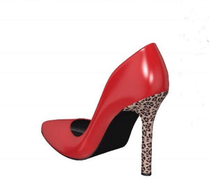 BITCH Lipstick RED Patent Leather Pump w Leopard Stiletto Heel