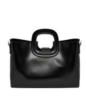 BLACKOUT Black Leather Shopper Tote