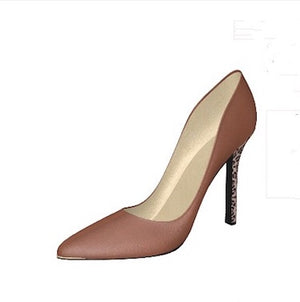 COCOA PUFF Cocoa Leather Pump w Leopard Hair Stiletto