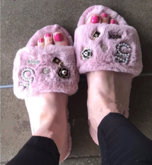 COCO No.5 Faux Fur Embellished Fuzzy Slides