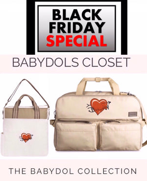 BABYDOL BLACK FRIDAY Weekend Get-Away Special! GIFT SET 2pc. Leather Latte Cream Travel Bag w Matching FREE BABYDOL Tote