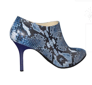 THINNEST LIZZY Cobalt Blue Python Ankle Stiletto Leather Boot