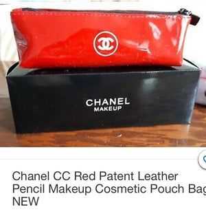 CHANEL Lipstick RED, Patent Leather Cosmetic Case Auth w Box