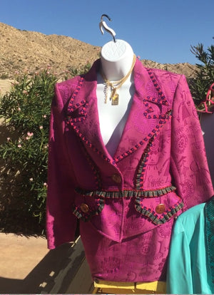 CHRISTIAN LACROIX  2pc Couture Fuschia Suit pre-owned by Kimberly Blackford, George Hamilton's Ex