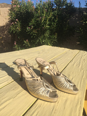Christian LOUBITAN Gold Lame Mme Gres Vintage Rare Leather Sandal