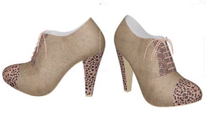 LATTE PARTY Oxford Suede Shoe with Cheetah Accents