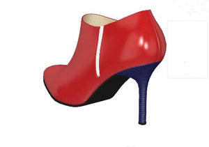 AMERICAN DOLL Red Patent Leather Boot with Navy Pony Hair Heel