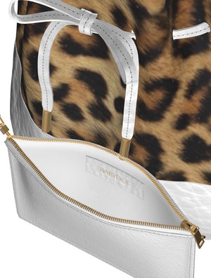 UPTOWN KITTY Leopard Bucket Bag w FREE White Leather Cosmetic Case!