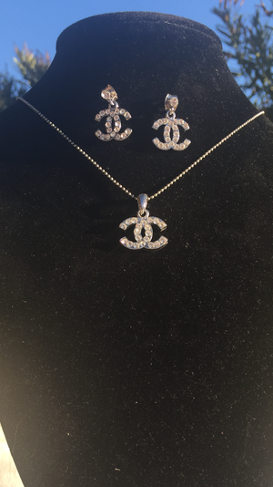 CHANEL Rhinestone CC logo Necklace and Earrings Set