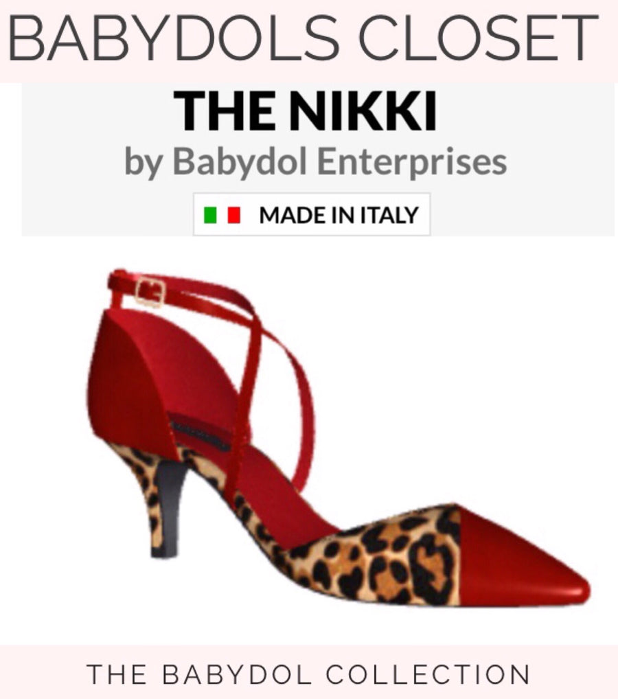 THE NIKKI Coral RED Suede with Leopard Hair exclusively created for Nikki Haskell