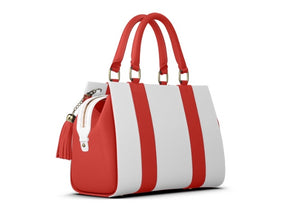 LIPSTICK GIRL Red and White Leather Tote Satchel w Tassel