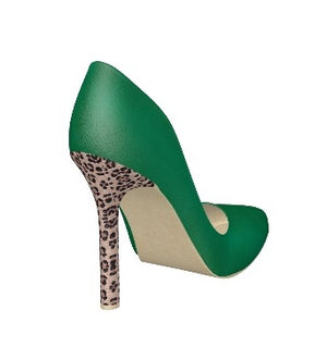 GREEN WITH ENVY Emerald Green Leather Pump w Leopard Stiletto Heel