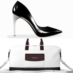 BLACKOUT White Leather with Black Leather Trim Weekender Bag
