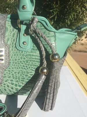 MadiClaire Faux Crocodile Mint Green Leather Satchel