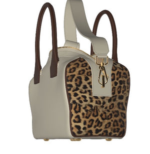 FALL 4U Leather Bowler Bag with Leopard