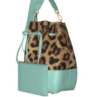 GLAMOUR GIRL Leather Bucket Bag w Leopard, & Matching Leather Mini Pouch (Pistachio)