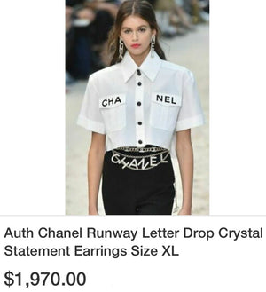 CHA NEL RUNWAY 2020!  Crystal Drop Earrings Auth