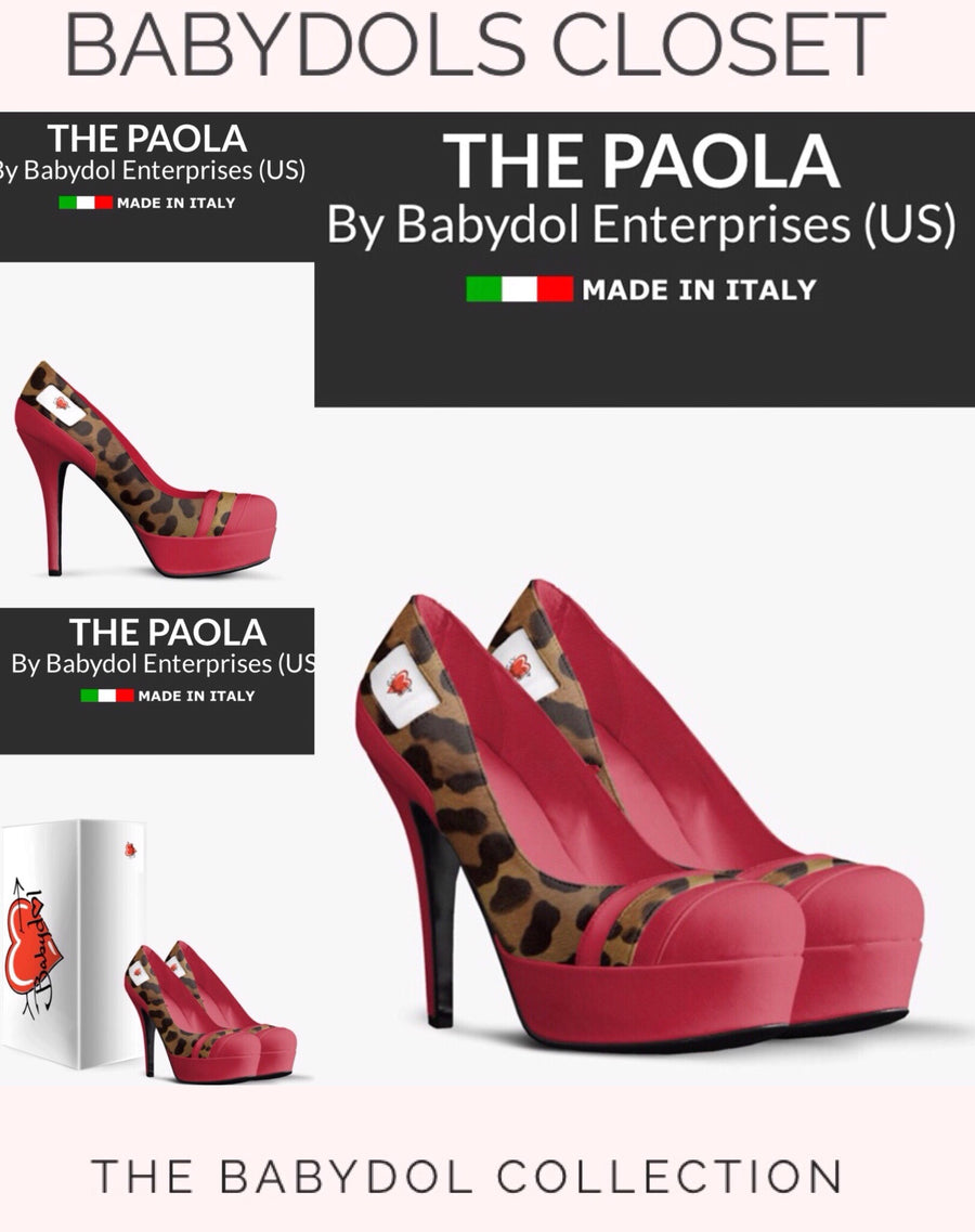 The PAOLA Red Leather w Leopard Pump inspired by 90Day Fiance Paola Mayfield.
