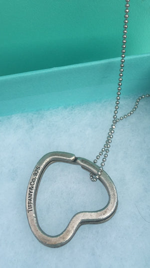 TIFFANY & CO. Auth Sterling Silver #925 Heart 2-1 KeyRing Necklace!