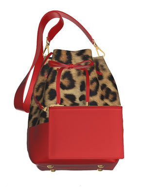 BITCH Leopard Hair Bucket Bag w matching FREE Red Leather Mini Cosmetic Case