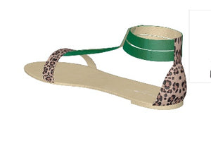 GREEN WITH ENVY Emerald Green Leather Gladiator Style Sandsls w Leopard Accents