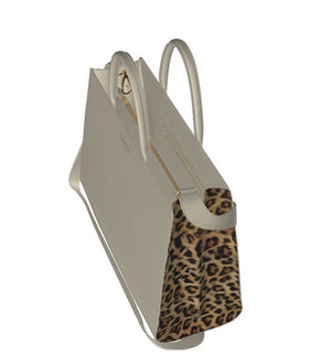 CREAM PIE LusciousLeather Zip Shopper Bag with Leopard Sides