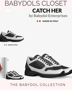 CATCH HER Black & White Leather Sport Walking Trainer