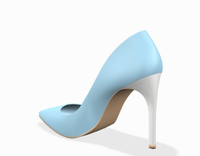 BABY IM BLUE Baby Blue/White Leather Stiletto High Heel