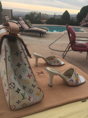 LOUIS VUITTON White Muricami Leather Sandals