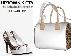 UPTOWN KITTY White Leather Leopard Pump