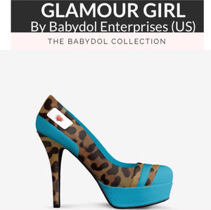 GLAMOUR GIRL Turquoise Leather Leopard Pumps w Leopard