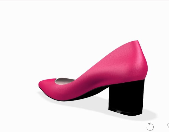 VAMP Leather Fuschia Mid Size Block Heel