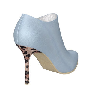 BLUE ANGEL Ice Blue Leather Ankle Boot w Leopard Hair Stiletto Heel