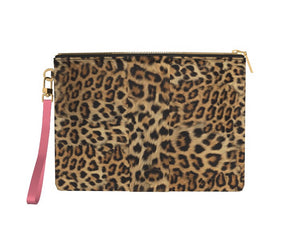 PINK FLAMINGO Leopard Clutch Bag with Pink Leather Wriststrap